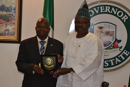 Prof Ajibola, President/Chairman of Council, CIBN's courtesy visit to the Ogun Governor Receive Government Plaque