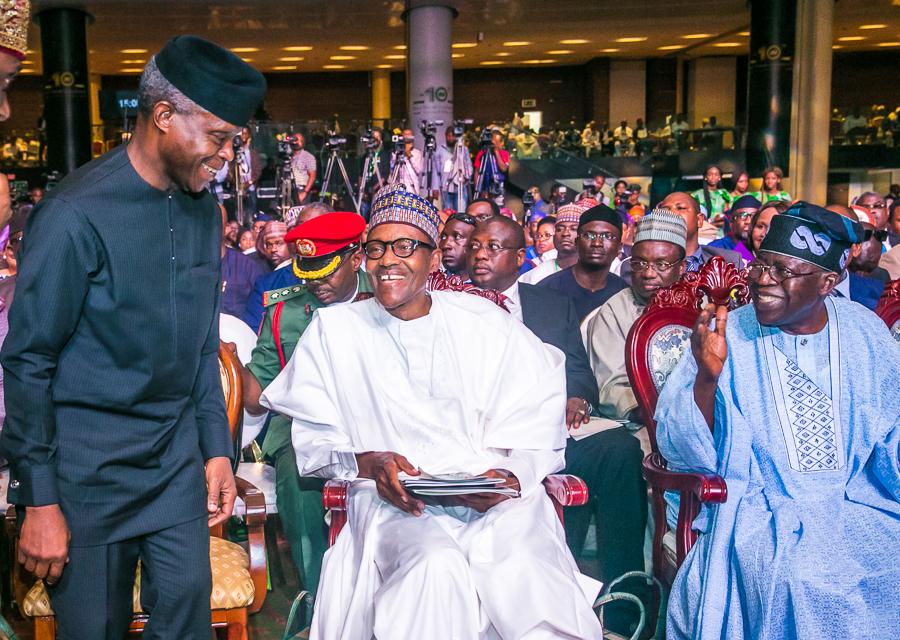 Saraki, Oyegun absent as Buhari lauds Tinubu at 66