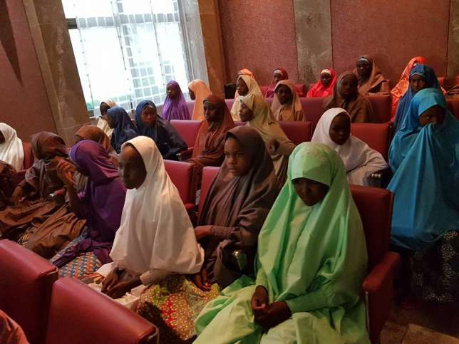 Buhari meets freed Dapchi girls, parents at Presidential Villa