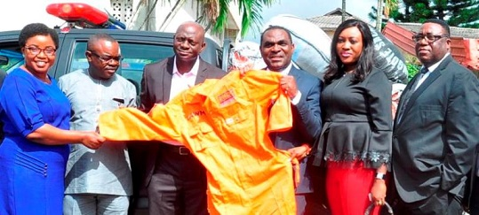 CSR: Eko Disco donates 500 rain jackets to LAWMA