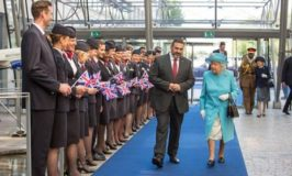 Her Majesty The Queen today visited British Airways' headquarters at Waterside, Heathrow as part of the airline's centenary celebrations.