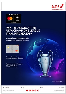 UBA Mastercard Holders to Win All-expenses-paid Trip to 2019 UEFA Champions League Final