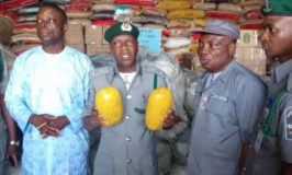 Nigeria Customs at Seme border Destroys Seize poisonous Ponmo, Hands Over Cannabis To NDLEA