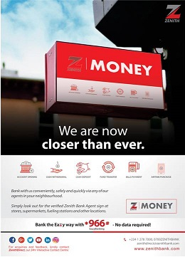 ZENITH BANK DRIVES CONVENIENT BANKING AND FINANCIAL INCLUSION WITH Z-MONEY