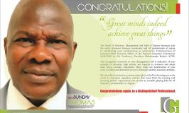 GUINEA INSURANCE - CONGRATULATORY MESSAGE ON APPOINTMENT OF SUNDAY THOMAS AS SUBSTANTIVE NAICOM BOSS