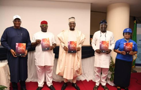 L-R: Executive Vice Chairman, Nigerian Communications Commission (NCC), Prof. Umar Danbatta; Member, Senate Committee on Communications, Senator Obinna Ogba; Minister of Communications and Digital Economy, Dr. Isa Ali Ibrahim Pantami; Chairman, Board of Commissioners, NCC, Prof. Adeolu Akande, and Deputy Director, Corporate Planning, Strategy and Risk Management (CPSRM), NCC, Ms Helen Obi, during the virtual launch of the Strategic Management Plan (SMP) 2020-2024 in Abuja on Tuesday.