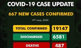 Nigeria records 667 new cases of COVID-19, total now 19,147