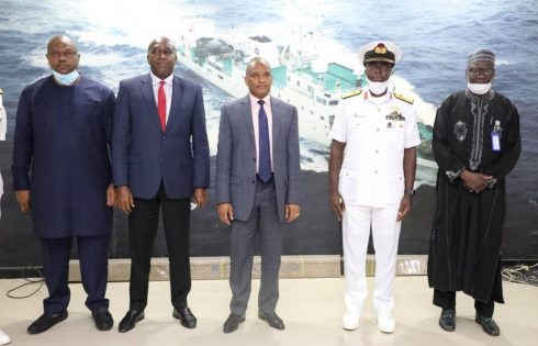 L-R: Executive Director, Maritime Labour & Cabotage Services, Nigerian Maritime Administration and Safety Agency (NIMASA), Mr. Victor Ochei, Executive Director, Finance & Administration, NIMASA, Hon. Chudi Offodile, Director General, NIMASA, Dr. Bashir Jamoh, Flag Officer Commanding (FOC), Naval Training Command (NAVTRAC), Rear Admiral Fredrick Ogu and Executive Director Operations, NIMASA, Mr. Shehu Ahmed during a visit by the FOC to L-R: Executive Director, Maritime Labour & Cabotage Services, Nigerian Maritime Administration and Safety Agency (NIMASA), Mr. Victor Ochei, Executive Director, Finance & Administration, NIMASA, Hon. Chudi Offodile, Director General, NIMASA, Dr. Bashir Jamoh, Flag Officer Commanding (FOC), Naval Training Command (NAVTRAC), Rear Admiral Fredrick Ogu and Executive Director Operations, NIMASA, Mr. Shehu Ahmed during a visit by the FOC to the Agency recently.the Agency recently.