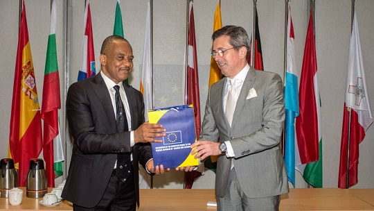 Photo News: The DG, NIMASA), Dr. Bashir Jamoh receiving a plaque from the First Counsellor Deputy Head of Delegation, European Union