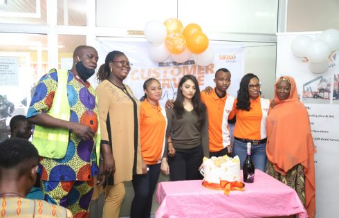 Ports & Cargo Handling Services Limited's Customer Care Unit in picture pose with Customs Clearing Agents during the 2020 Customer Service Week celebration held at Ports & Cargo Handling Services Limited, Lagos