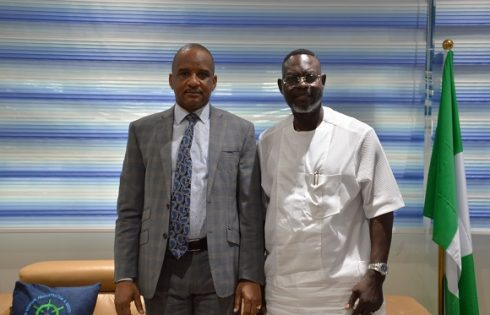 Dr. Taiwo Afolabi, Group Executive Vice Chairman, SIFAX Group on a courtesy visit to Bashir Jamoh, Director General, Nigerian Maritime Administration and Safety Agency